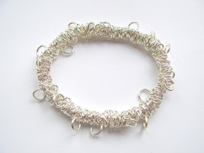Bungee Charm Bracelet (Elasticated) Silver Plated x1