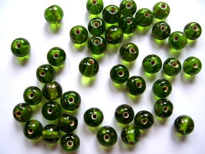 Olive Gold 8mm Round Beads x5