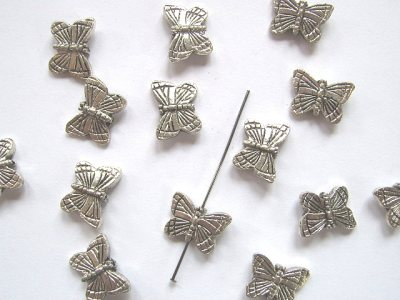 Large Butterfly Silver Plated 21x11mm x1