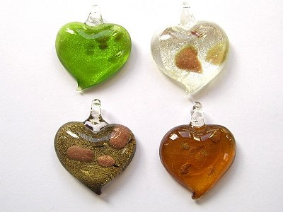 35mm Heart Shaped Glass Pendant x1