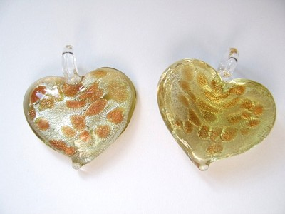 35mm Heart Shaped Glass Pendant Pale Gold x1