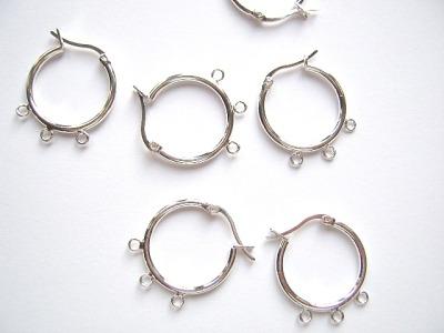 Earring Hoop 20mm Silver Plated x2