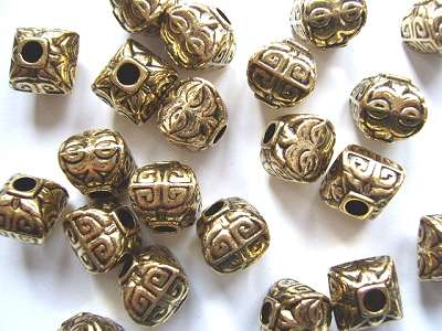 Puffed Square Antique Gold 12.5mm Bead x1