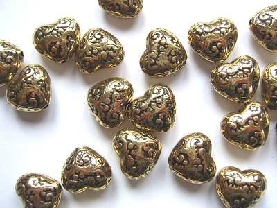 Heart Antique Gold x1