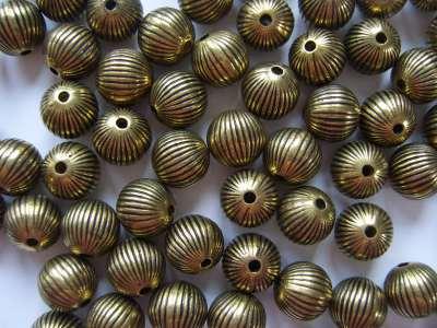 Onion Antique Gold Beads x10
