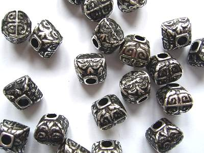 Puffed Square Antique Silver 12.5mm Bead x1