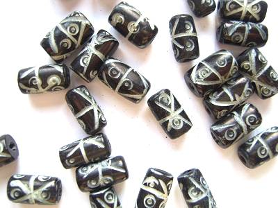 Bone 12x6mm Tube Beads Black x1