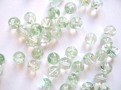 Crackle Quartz Pale Green 8mm Round Beads x6