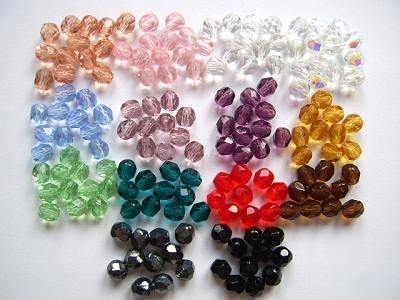 Faceted Cut Glass Beads 4mm or 6mm x10