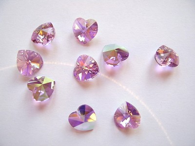Light Amethyst 10mm Swarovski Cut Glass Heart Pendant x1