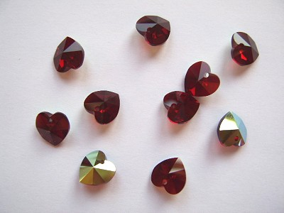Garnet 10mm Swarovski Cut Glass Heart Pendant x1