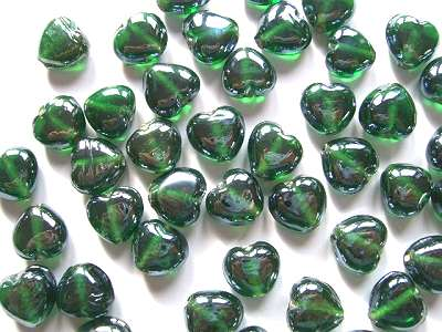 Lustred Green 13mm Heart Beads  x10