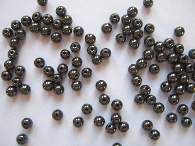 Haematine 4mm Round  Beads x10