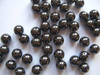 Haematine 8mm Round Beads x10