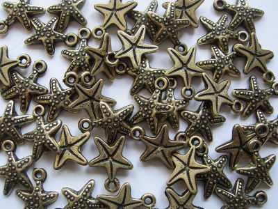 Small Starfish Antique Gold x1