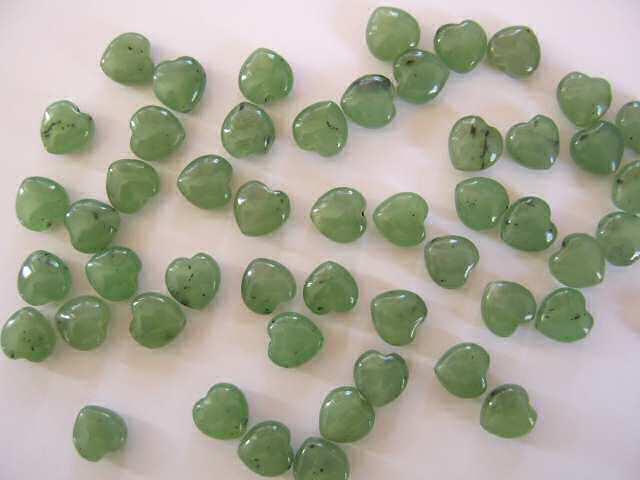 Nephrite Jade 8mm Puff Heart Beads x3