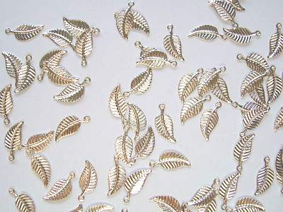 Tiny 12mm Silver Plated Leaf Charms x10